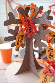 """Thankful Tree"" centerpiece for Thanksgiving kids' table Thanksgiving Tree, Thanksgiving Activities For Kids, Thanksgiving Centerpieces, Thanksgiving Service, Kindergarten Thanksgiving, Thanksgiving Favors, Thanksgiving Messages, Thanksgiving Projects, Holiday Centerpieces"