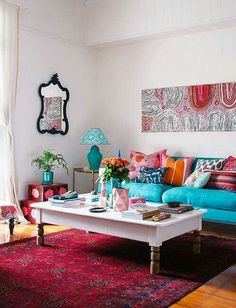 Too Much White Wall, But I Like The Pillows, Couch And Rug. Living