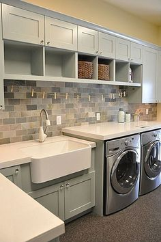Budget Laundry Room Makeover Reveal - Craving some Creativity Small or Closet Laundry Room Makeover - Cabinet and Open Shelves for organization and storage in light grey and yellow color scheme, loads and loads of fun stencil on the wall.