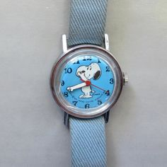 Seventies Snoopy Mechanical Kids Watch  Blue Strap by GraciousGood