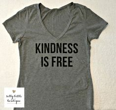 Kindness is Free Grey Vneck/ Black glitter by sillylittleboutique on Etsy