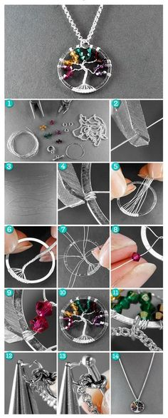This My Little Tree Wire Wrap Pendant is the perfect DIY necklace idea for a Mother's Day gift or any other present. With its crystal beads and wire design, this pretty pendant is a DIY jewelry project that makes the most of simple wire wrapping tech Wire Wrapped Pendant, Wire Wrapped Jewelry, Wire Jewelry, Beaded Jewelry, Jewelery, Jewelry Necklaces, Handmade Jewelry, Jewelry Tree, Jewelry Box