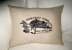Harvest Time Shabby Chic Pillow, Country Cotton Burlap Fall and Thanksgiving Themed Cushion, Home Decor, Autumn, Pumpkin, Halloween. $22.79, via Etsy.