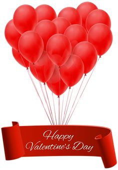 Happy Valentine's Day Banner with Balloons PNG Clip Art Image