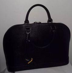 Pulicati Black Epi Saffiano Leather Large Dome Satchel Convertible Bag Free SHIP | eBay