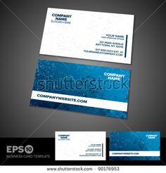 Blue and white grunge business card template