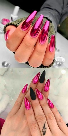 The Best Chrome Nail Ideas to Copy Beautiful pink chrome nails ideas! The Best Chrome Nail Ideas to Copy Beautiful pink chrome nails ideas! Black Chrome Nails, Chrome Mirror Nails, Pink Black Nails, Bright Pink Nails, Pink Acrylic Nails, Metallic Nails, Gold Nails, Gold Chrome, Chrime Nails