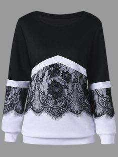 Plus Size Eyelash Lace Trim Two Tone Sweatshirt Great reputation fashion retailer with large selection of womens & mens fashion clothes, swimwear, shoes, jewelry, accessories selling at a cheap price. Cheap Fashion, Trendy Fashion, Plus Size Fashion, Winter Fashion, Womens Fashion, Fashion Trends, Fashion Black, Fashion Inspiration, Stylish Outfits
