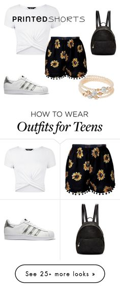 """Printed shoorts"" by uniicorncandy on Polyvore featuring New Look, adidas Originals, STELLA McCARTNEY, sweet deluxe and printedshorts"