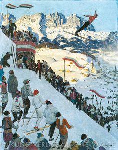 Alfons Walde Vintage Ski, Vintage Travel Posters, Poster Vintage, Art Deco Paintings, Landscape Paintings, Landscapes, Figure Painting, Painting & Drawing, Ski Posters