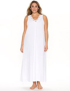 Sleep or lounge in complete comfort and style in our long & lovely maxi with delicate crocheted trim. From our luxurious Tru to You collection, you'll fall in love with the decadent softness and flattering fit that features a shirred V-neckline to highlight your curves. #LaneBryant #Cacique