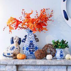 Blue&White love💙💙💙 over on P&P today...link in profile!  .  .  .  .  #fallmantle #blueandwhite #mantledecor #staffordshirespaniels #blueandwhitechina #feelingfall #SLfall #mytradhome #decorate