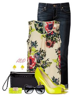 """Vila Cream Floral Print Top"" by amy-phelps ❤ liked on Polyvore featuring Paige Denim, VILA, Valentino, Brian Atwood and Jimmy Choo"