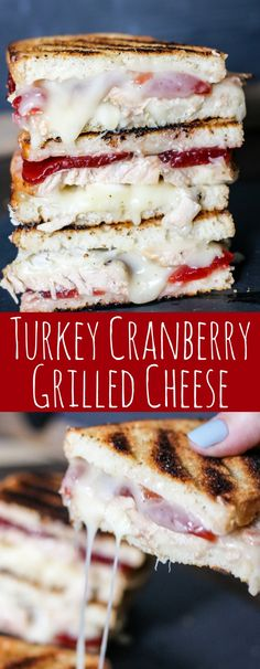 Turkey Cranberry Grilled Cheese is the ULTIMATE Thanksgiving leftovers meal! Turkey, cranberry sauce, and two cheeses are combined for this tasty sandwich! eatdojo.com/...