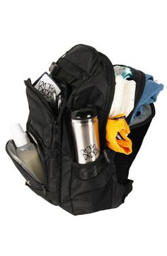 "The Daddy Diaper Pack™ in basic black is the ultimate backpack for Dads with full straps and clips to lock it down, and to take it off quickly and easily. The custom design allows less fumbling through deep pockets and eliminates struggling to take off the pack while holding baby. The side pockets are great for water bottles, baby bottles, and sippy cups. There's a big pouch for diapers, wipes, and a change of clothes (and of course a small one for the ""dirty stuff""). $ 59"