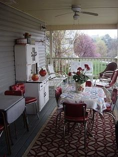 What a wonderful Front Porch!  I bet they have a Screen Door!