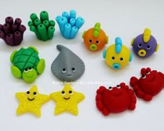 under the sea fondant molds | Edible Fondant Sea Creatures cup cake / cake Topper for Under the sea ...