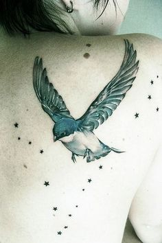 Bird and stars tattoo #TattooModels #tattoo