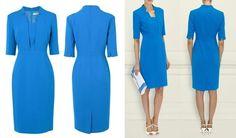 Gorgeous L.K.BENNETT Blue Detroit Notch Collar Pencil Dress UK 12 US 8 ASO