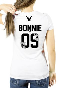 Flower BONNIE t-shirt with number, Bonnie shirt with gun, couples shirts, couple style, bonnie clyde couples shirts bonnie guns shirt Bonnie And Clyde Shirts, Bonnie Clyde, Couple Tshirts, Family Shirts, Couple Items, Fashion Couple, Couple Outfits, Custom Shirts, Couple Style