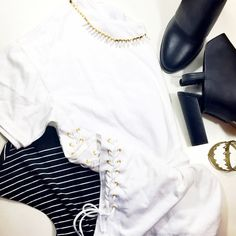J. Crew White Lace Up Tee Size L white tee with laces up both sides. Photo 4 shows same shirt in a different color to show how it looks on a model.  NWT. J. Crew Tops Tees - Short Sleeve