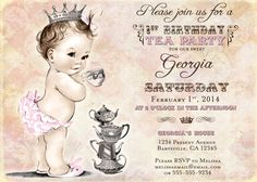 First Birthday Tea Party Invitation For Girl - Princess - Crown - Pink - DIY Printable on Etsy, $23.00