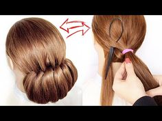 😱EASY Topsy Tail Bun😱Wedding Prom Updo Hair Tutorial perfect for long, medium & shoulder length ha Cute Prom Hairstyles, Pulled Back Hairstyles, Heatless Hairstyles, Teenage Hairstyles, Easy Hairstyles For Long Hair, Headband Hairstyles, Up Hairstyles, Men's Hairstyle, Hairdos