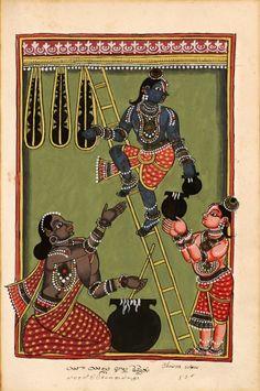 "Krishna and Balarama steal butter. ""Indian Deities,"" two albums 195 illustrations. Southern Andhra Pradesh (north of Madras), bordering Karnataka, around 1720-1730"