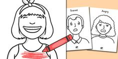 Our Emotions Colouring Sheets - Colouring, fine motor skills, Emotions, Feelings, All about me, ourselves, feelings display, feelings banner, emotions display, expression, happy, sad, angry, scared