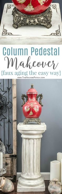 Column Pedestal: Ruins Revival Style | Column pedestal makeover with homemade chalk paint | Homemade chalk paint recipe | How to stencil with metallic wax | How to apply antiquing wax | Step-by-step tutorial for antiquing and metallic wax | English gardens | DIY garden decor | TheNavagePatch.com