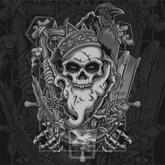 Death Treasure Artwork For Sale #illustration #skull #artwork #tshirtdesign #design #graphicdesign