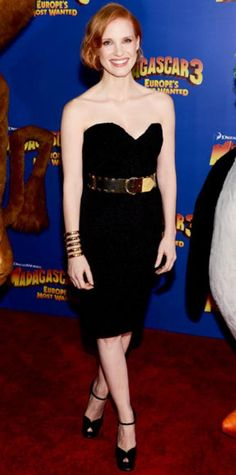 Look of the Day › June 8, 2012 WHAT SHE WORE Chastain styled her belted black dress with an Aurelie Bidermann statement cuff and ankle-strap heels at the New York premiere of Madagascar 3: Europe's Most Wanted.