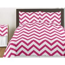 Chevron Zig Zag Hot Pink Bedding Set The hottest trend in #teenbedding right now is bright colored Chevron prints.  Available in black, turquoise, gray and hot pink.