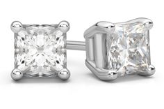 1.50 Carat #Princess Cut #Diamond Stud #Earrings in 18K White Gold -