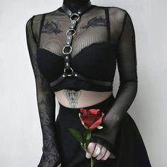 3c4979b11c Fishnet Turtleneck Mesh Crop Tops Women Sexy See Through Club Blouse Belt  Choker Gothic Shirts Party Autumn Navel Plain