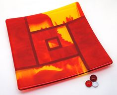 Red Orange Yellow Fused Glass Art Plate Home Decor by ModMixArt, $98.00