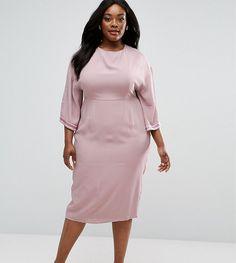 f94fad7ebc9 ASOS CURVE Embellished Trim Kimono Midi Dress - Pink Midi Dress Plus Size