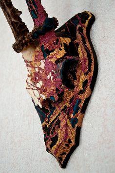 Swedish Roe Deer skull Taxidermy / Hand painted / by Skullartist