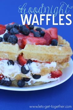 Goodnight Waffles from Let's Get Together - an overnight waffle batter recipe that is totally worth the wait! Perfect for a #4thofjuly breakfast. (This family also does an awesome 4th of July parade before eating these waffles every year!) #recipe #breakfast #wafflelove