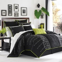 i think this will be my next comforter set! LOVE the white and black with a hint of green!