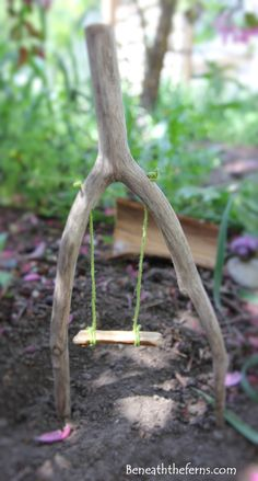 Fairy gardens swing miniature made from driftwood
