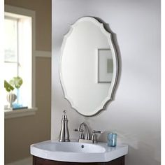 allen + roth L x W Oval Silver Beveled Wall Mirror at Lowe's. Silver finish wall mirror adds a classic dimension to your decor. Beveled Mirror Bathroom, Wooden Bathroom, Oval Mirror, Bathroom Vanity Lighting, Vintage Tub, Window In Shower, Bathroom Colors, Bathroom Ideas, Design Bathroom