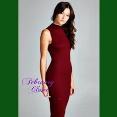 Burgundy Dress Open Back Ladies you will love this fabulous fitted, sleeveless, mock neck body con dress. Below knee length. Sexy open back detail. This dress is made with medium weight, wide ribbed knit fabric that is soft, skims and drapes well and has excellent stretch. Color: Burgundy. Dresses