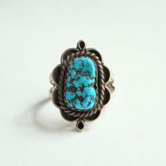 Sterling Silver Turquoise Ring Size 6.5 Navajo Style Southwestern Indian Jewelry Boho Chic by redroselady on Etsy