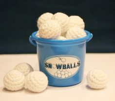 crocet snow balls- when dillon was little i would go visit a very dear old, old, old, cousin. the only thing dillon had to play with was her balls of yarn. she  got them out and they were all over the place! she didn't care- loved it. these remind me of her!