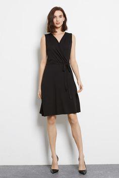 Monochrome | Black WRAP DETAIL DRESS | Warehouse