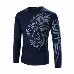 Mens Long Sleeve T-shirt Dragon Tattoo Printing Quick-dry Casual Fall Winter Top Tee
