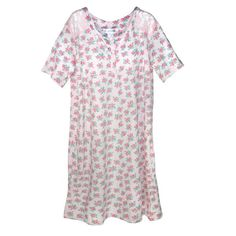 This lovely cottage rose print night shirt will keep you cool and comfortable all night long. The cotton short sleeve night shirt features a 4 button henley neck line and a beautiful allover cottage rose print.
