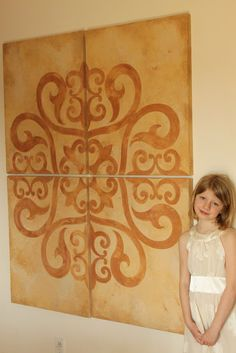 Cool canvas wall art done with one of our Modello Stencils and American Clay. Creative Juices for Decor: Clay Art