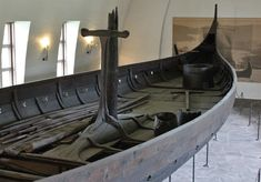 Gokstad ship 900 CE: The Gokstad ship is a Viking ship found in a burial mound at Gokstad in Sandar, Sandefjord, Vestfold, Norway. It is currently on display at the Viking Ship Museum in Oslo, Norway. Viking Longboat, Viking People, Under Decks, Phoenix Homes, Archaeological Discoveries, Viking Ship, In Ancient Times, Small Boats, Ancient Artifacts